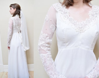 50s Chantilly Lace Wedding Dress // Midcentury Empire Waist Bridal Gown // XS