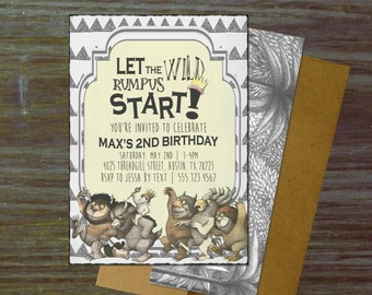 Wild Rumpus Birthday Party Invitations { Where the Wild Things Are Maurice Sendak Book Max Crown Boat Jungle Adventure Hip Boy Girl }