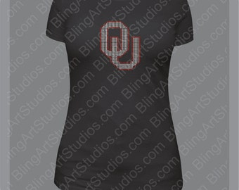 Rhinestone Transfer, University of Oklahoma Rhinestone Transfer, OU, Oklahoma Sooners, University of Oklahoma, OU Logo, Sooners Bling TR2612