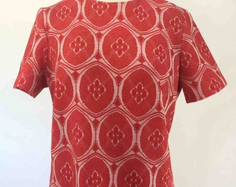 Vintage 60s Red and White Mod Dress with Embossed Oval Print