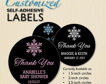 Custom Snowflake Favor Label, Winter Baby Shower, Wedding Thank You, Chalkboard Sticker, Cookie Bag, Mason Jar, Candy Buffet, Treat Box