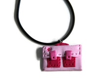 School bag necklace, pink bag necklace, back to school jewelry, polymer clay bag necklace