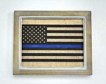 Thin Blue Line Burlap Print- American Flag- Police Officer Print- Police Home Decor- LEO Decor- Gift- Blue Lives Matter- PRINT ONLY