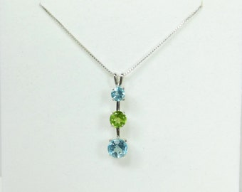 2.96ctw Sky Blue Topaz and Peridot Pendant w/ Chain