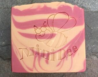 ORANGE POMEGRANATE Shea Butter Soap with Silk, Handmade Soap, Cold Process Soap, Moisturizing