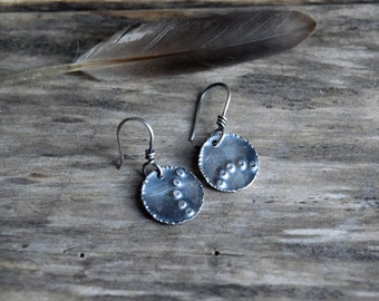 Rustic Silver Dangle Earrings Sterling Silver Dangle Earrings Stamped Silver Earrings Unique Silver Earring