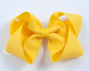 Yellow Hair Bow, Yellow Twisted Boutique Bow, Yellow Boutique Bow, Yellow Bow, Yellow Hairbow, Basic Yellow Bow, Hair Bows (Item #10219)