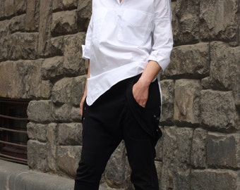 White cotton sleeves shirt with two pockets / Stylish designer blouse by CARAMELfs SH9616