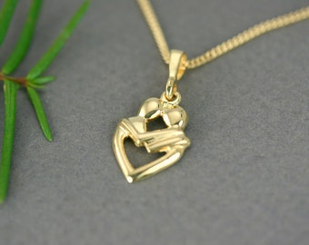 Heart pendant, Gold Plated heart pendant, Gold vermeil heart pendant, Gold heart necklace, Romantic heart, Handmade, Minimalist heart