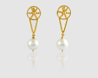 Best Collection Fresh Water Pearl Gemstone New Dedign 18k Gold Over Sterling Silver Earring Special Women Gift Jewelry