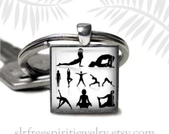 Yoga Key Chain, Yoga Poses, Yoga Gift, Hatha Yoga, Spirituality, Health and Well Being, Gift for Women. physical fitness, Zen Buddhism