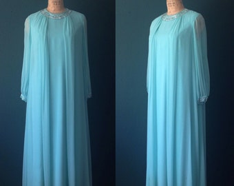 Aqua dress- Aqua gown- Blue dress- Chiffon dress- Aqua prom dress- Long sleeve dress- 70s gown-Large dress-Medium/Large