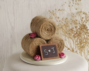 Rustic Country Wedding Cake Topper - Barn Wedding Cake Topper -  Hay Bale Cake Topper with Roses - Farm Wedding Cake Topper - Chalkboard