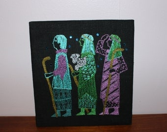 Beautiful vintage retro Wall hanging Art Tapestry on board with hand embroidered Three Wise Men. Made in Sweden Scandinavian.