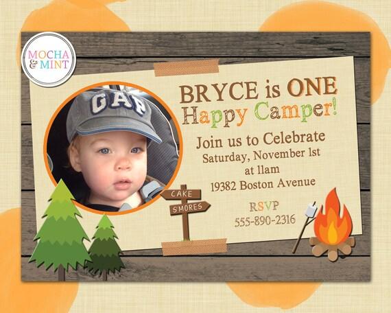Items Similar To Happy Camper Birthday Invitation Photo Jpg 570x456 Campers Printable