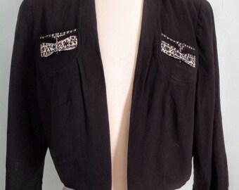 1940s Rayon Black Bolero Jacket With Fancy Pocket Detail //Size Small
