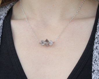 Herkimer Diamond Trio Necklace -Silver