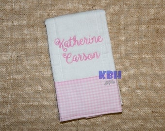 Embroidered Burp Cloth with Trim