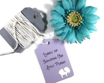 Purple Elephant Baby Shower Tags Set of 20 - Showering Our Little Peanut - Thank You Tags - Elephant Shower Gift Tags - Neutral Baby Shower