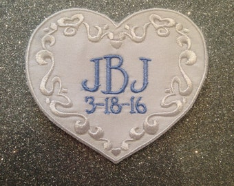 Wedding Dress Patch, Monogrammed Wedding Patch, Patch for wedding dress