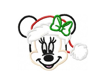 Christmas Minnie Mouse Applique Embroidery Design in 3 Sizes - INSTANT DOWNLOAD