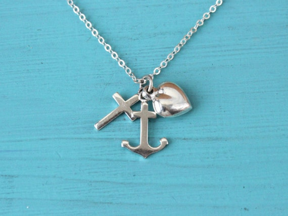 Faith Hope Love Necklace Sterling Silver Heart Cross Anchor