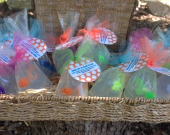 Fish-in-a-Bag Soap | Glycerin Unscented Soap | Party Favors | 12 Kids Soaps