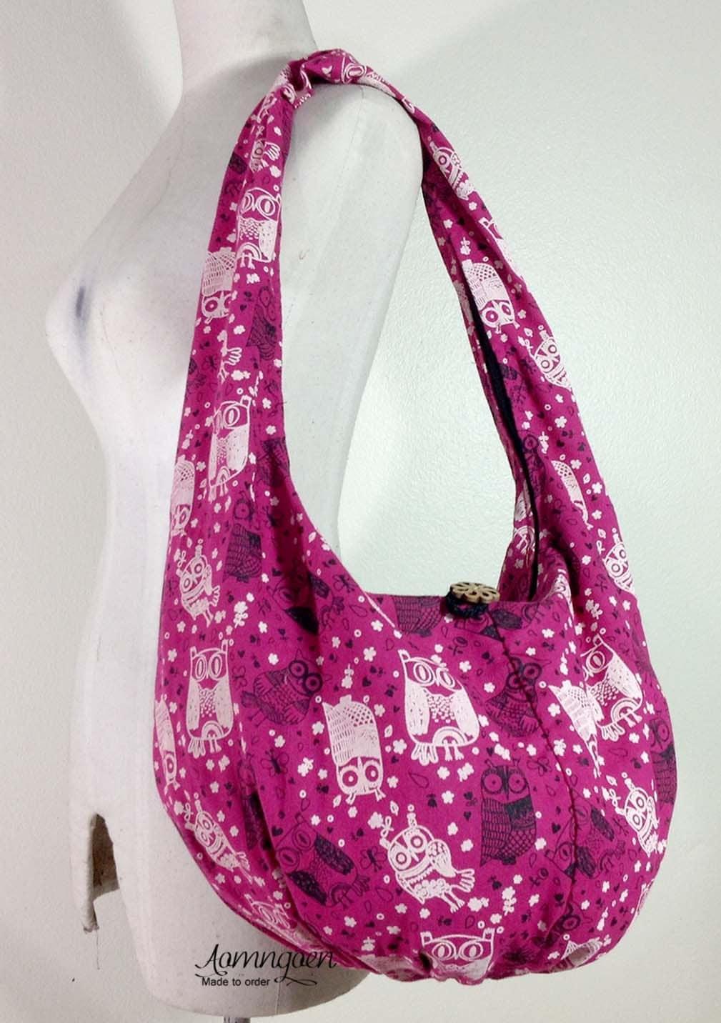 ddfff7209e Deep Pink Owl Hippie bag Any Size Hobo Bag Handmade Woven Bag Handbags Purse  Tote bag