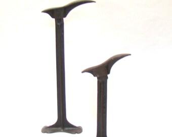 Pair of Vintage Cobbler's Stands; Vintage Shoe Forms; Bookends; Shoe Stands; Cast Iron Shoe Stands; Door Stop; Shoe Mold; Primitive Decor