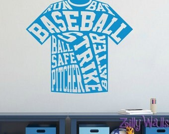 Baseball Room Decor Softball Sports Sticker Name Wall Vinyl Decal Boys Name Vinyl Decal Baseball Vinyl Decor