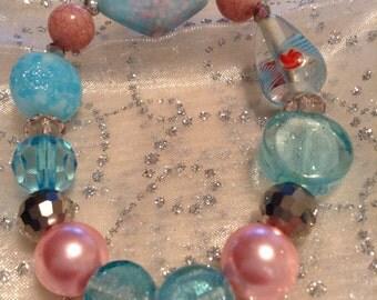 Bracelet, Stretch Bracelet,Lampwork stretch bracelet in light pink and light blue