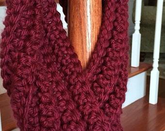 Chunky Crochet Infinity Scarf in Rich Burgundy