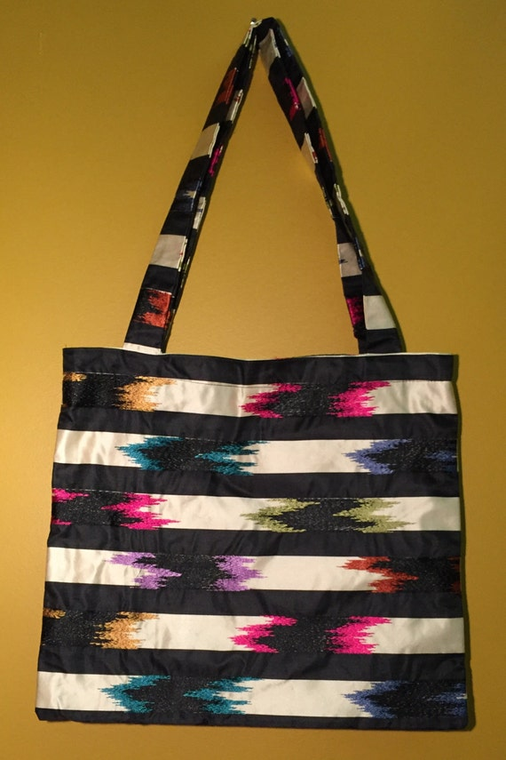Tote bag with pockets.  Beautiful silk blend stripped fabric with embroidered detail