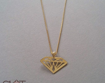 Gold Diamond Necklace 14k gold necklace Solid Gold necklace 14k diamond necklace diamond shaped necklace 14k solid gold necklace