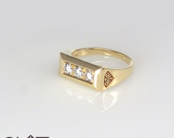 Unique Engagement Ring, Engagement Ring, 3 diamond engagement ring, Ring with diamonds, 14k Solid Signet Ring, 3 Diamonds Signet Ring