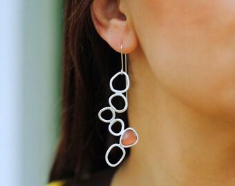 Asymmetrical Silver plated Bronze Earrings,Silver Pins, Long Dangle Earrings, Organic Form,Modern Handmade, Pink Resin/ Valentine gift