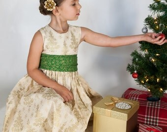 Girls Christmas Dress - Girls Holiday Dress - Girls Christmas Tree Dress - Christmas Tree Dress - Christmas Dress - Gold Christmas Dress