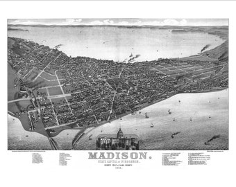 """Madison Wisconsin in 1885 Panoramic Bird's Eye View Map by Norris, Wellge & Co. 22x16"""" Reproduction"""