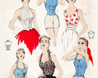 1950s 50s vintage sewing pattern reproduction 4 styles bustier crop top halter Bust 32 34 36 38
