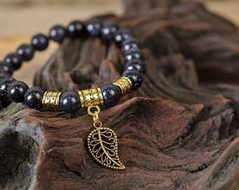 Sun stone bracelet, leaf bracelet, gemstone bracelet, stone bracelet, shiny bracelet, beaded bracelet, elegant bracelet, nature bracelet