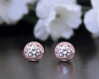 Art Deco Stud Earrings-1.24 ct.tw Brilliant Cut Diamond Simulant-Bridal Earrings-Bridesmaids Gift-Rose Gold Plated-Sterling Silver [6057RG]
