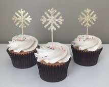 Winter Onderland Snowflake Gold Glitter Cupcake Topper, Gold Glitter Party Decorations, Frozen Themed Birthday Party Decorations