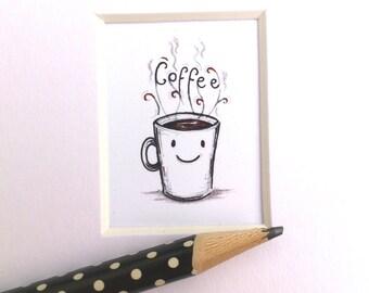 Coffee print, kitchen decor, coffee art, miniature picture, 6 x 4 mount