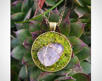 Woodland Jewelry Moss Stone Pendant Necklace Fairy Jewelry Amethyst Necklace Wire Wrapped Stones Healing Crystals Moss Terrarium Jewelry