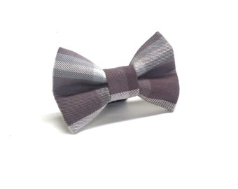 Polished Plaid in Grey Dog Bow Tie, Plaid Dog bow