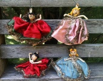 Wood head ladies 4 Vintage Christmas ornaments 1950's hanging decorations chenille stem arms old tinsel trim midcentury Christmas