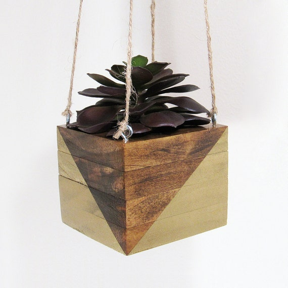 Hanging Planter Succulent Planter Wood Planter Modern