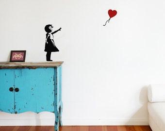 BANKSY Wall decal BALLOON GIRL with heart, Street Art Wall Sticker, Urban Wall Art, Vinyl Art