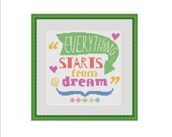 Dreams cross stitch pattern, Inspirational Cross Stitch, Typography Cross Stitch, Follow your dreams, Cross stitch pattern, Cross stitch PDF
