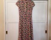 Cath Kidston Rayon Tea Dress sz 6  ( UK 10 ) //  '90s does 1930s // Vintage Garden Party